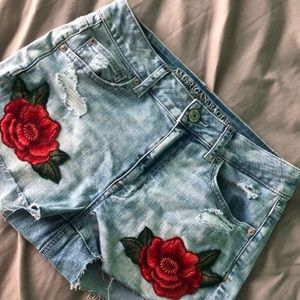 American Eagle Hi Rise Shortie Roses Jean Shorts